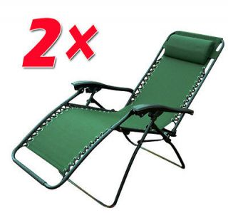 Green Zero Gravity Chairs Folding Patio Pool Recliner Lounge Chair