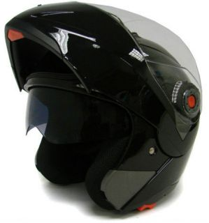 GLOSS BLACK MODULAR FLIP UP DUAL VISOR SUN SHIELD MOTORCYCLE HELMET sz