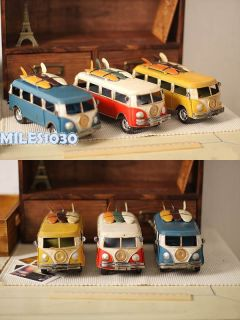 Vintage Handmade Handicraft Iron Tin Art Toy 1960s VW Kombi Van Bus