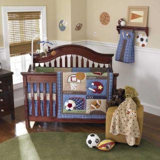 Sports Nursery Themed Blue Baby Boy Infant Football Discount Crib