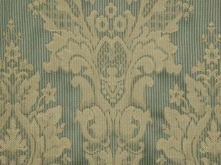 Green Stripe French Damask Drapery Upholstery Fabric