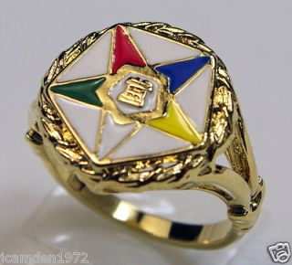 Masonic OES Order of the Eastern Star RING 18K Gold Overlay size 5