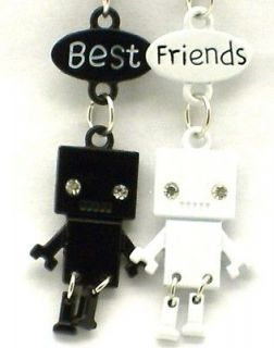 Friend Robot Charm 2 Pendant 2 Necklace Black/White BFF Friendship