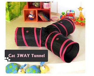 KIT CAT PLAY 3 WAYS CAVE CAT TOY PLAY TUNNEL FUN Peep Hole Tunnel