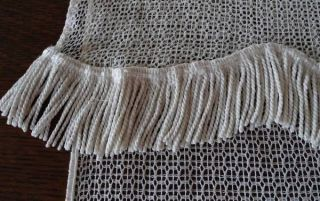 Vintage Embroidered Net Lace Curtain Panel Fringed 21x30