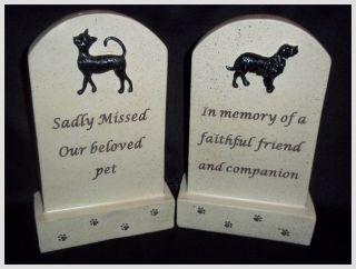 Pet Dog or Cat Memorial Grave Funeral Headstone Creamy/Grey Resin