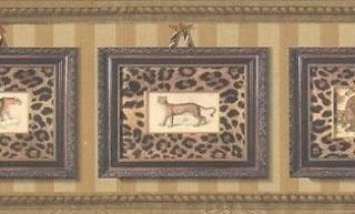 Wallpaper Border Framed Leopard Portraits With Leopard Print On Gold