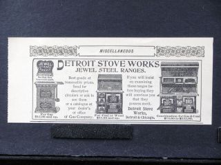 1896 DETROIT STOVE WORKS Jewel Steel Kitchen Ranges magazine Ad oven