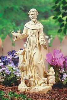 ST FRANCIS of Assisi STATUE Art Resin Stone Look lawn garden Sculpture
