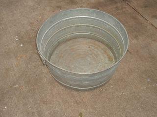 vtg galvanized wash tub rustic yard planter folk art