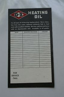 Advertising D X Heating Oil Sticker Decal Gas Station Service Card