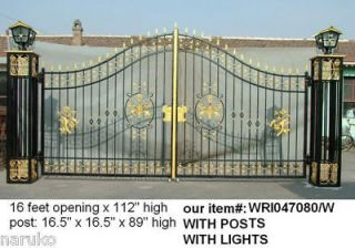 STYLE no casted parts 16ft HAND WROUGHT IRON DRIVEWAY GATES & LARGER