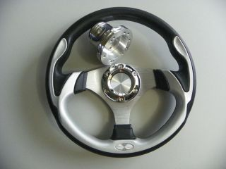 EZ GO, POLARIS, TOMBERLIN, GEM, GOLF CART CUSTOM SILVER STEERING WHEEL