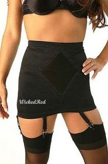 Style Super Firm Open Bottom Girdle BLACK 6 Metal Garters L 29 30