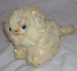 Vintage Stuffed/Plush White Fluffy Wind Up Musical Kitty Cat Kitten
