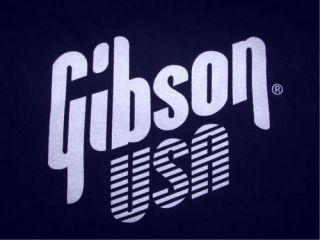 NAVY Gibson USA T SHIRT bass guitar rock punk les paul