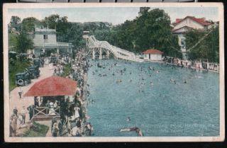 HERSHEY PA Swimming Pool Slide Bathers Vtg Postcard PC