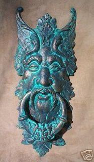 GARGOYLE DOOR KNOCKER cast iron verdigris GREEN MAN