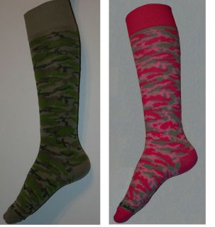 PINK OR GREEN GIRLS CAMO SOCCER, SOFTBALL, VOLLEYBALL SPORTS SOCK