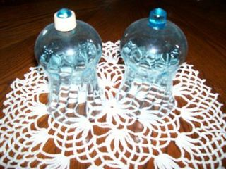 Set of Two Blue Glass Home Interiors Candle Globes for Sconces