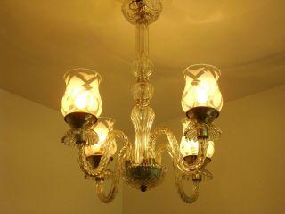 VTG ITALIAN VENETIAN GLASS CHANDELIER LIGHT LAMP 4 ARMS GLASS SHADES