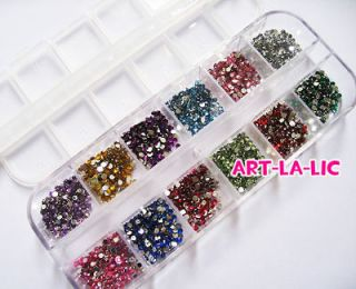 Nail Art Rhinestones 12 Colors Round Glitters Tips Manicure Deco Wheel
