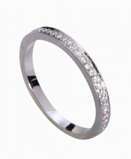 Pave Diamond Solid 14K White Gold Engagement Wedding Band size 4 11