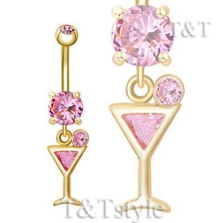 Newly listed T&T 14k GP Pink CZ Martini Glass Dangle Belly Bar Ring