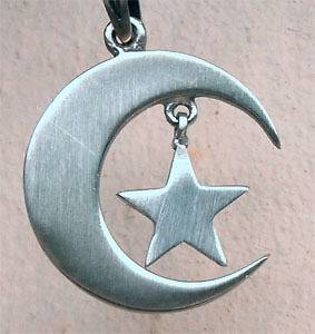 Moon Star Amulet Pewter Pendant W Black rubber Necklace