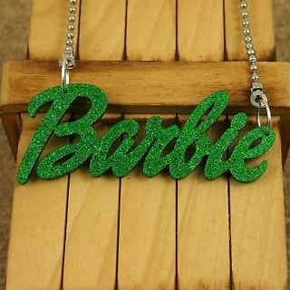 GREEN ACRYLIC PENDANT KITSCH BARBIE NAME NECKLACE JEWELRY NICKI MINAJ