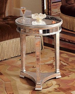 Round Amelie Mirrored Table Side End Table Nightstand HCF12_F01QJ