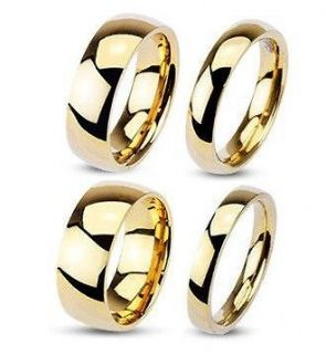 Steel Gold Plated Classic Traditional Wedding Ring 3, 4, 6, 8mm