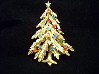 ART Gold Tone Multi Color Rhinestones Christmas Tree Brooch/Pin