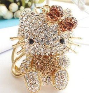 Heart Gold Fashion Hello Kitty Cat Keyring Purse Chain Rhinestone
