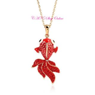 18K Gold Plating with Genuine SWAROVSKI Crystal Red Fish Necklace