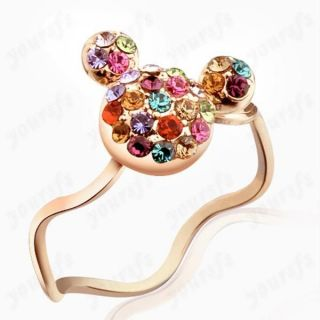18K Rose Gold GP Colorful Swarovski Crystal Mickey Mouse Lovely Ring