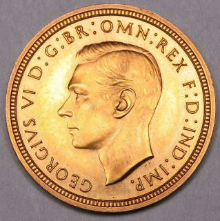 1937 GREAT BRITAIN GEORGE VI PROOF GOLD HALF SOVEREIGN COIN