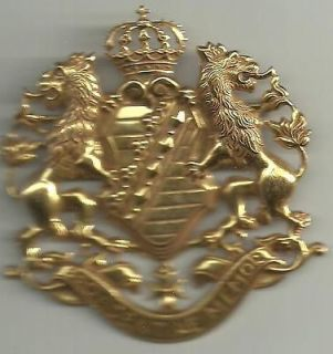 HUGE SIGNED MIRIAM HASKELL COAT OF ARMS ROYALTY SHIELD RUSSIAN GOLD