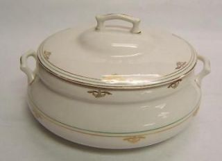 Edwin Knowles China Covered Dish white w/ gold bands