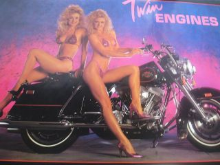1987 Twin Blondes in bikinis on Harley Davidson vintage wall poster