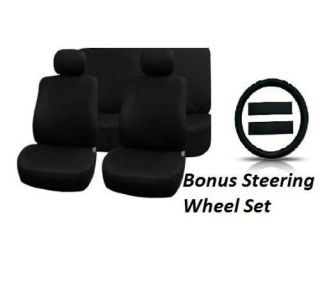 Full Set Solid Black 11pc Car Seat Covers Bonus Steering Wheel Cover