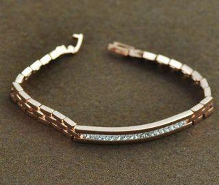 Ladys White Gems Bracelet Chain 14K Rose Gold Filled Jewelry B614A
