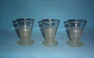 Vintage Silver Stripe Frosted Footed Martini Cocktail Glasses (3)