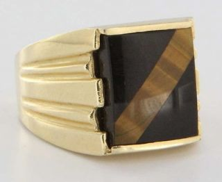 Vintage Estate Tigers Eye Onyx Gold Mens Ring Cocktail Fine Old