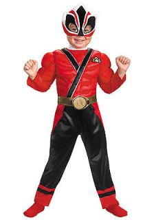 Boys Red Power Ranger Costume Muscle Samurai Toddler Childs Rangers