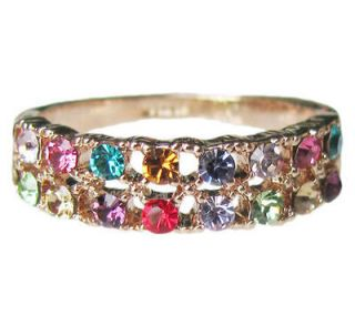 18k rose Gold GP swarovski Engagement colorful ring