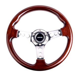 NRG Steering Wheel 330mm Classic Wood Grain 3 Spoke Chrome Center Old