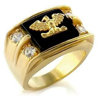 EAGLE SET IN GENUINE ONYX MENS GOLD PLATED RING SZ 9,10,11,12,13