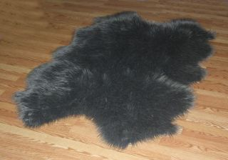 SOFT GREY cute Sheepskin Faux Fur rugs curly long hair mohair shag NEW