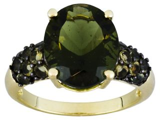 Oval & Round Green Moldavite 10k Yellow Gold Ring *